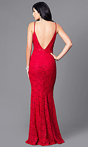 Image of floor-length lace formal prom dress with sequins. Style: MCR-1804 Back Image