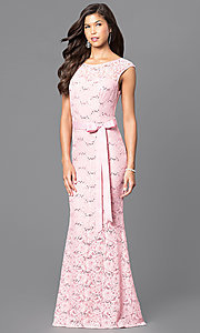 Image of sequined-lace formal long prom dress with sash. Style: MCR-1506 Front Image