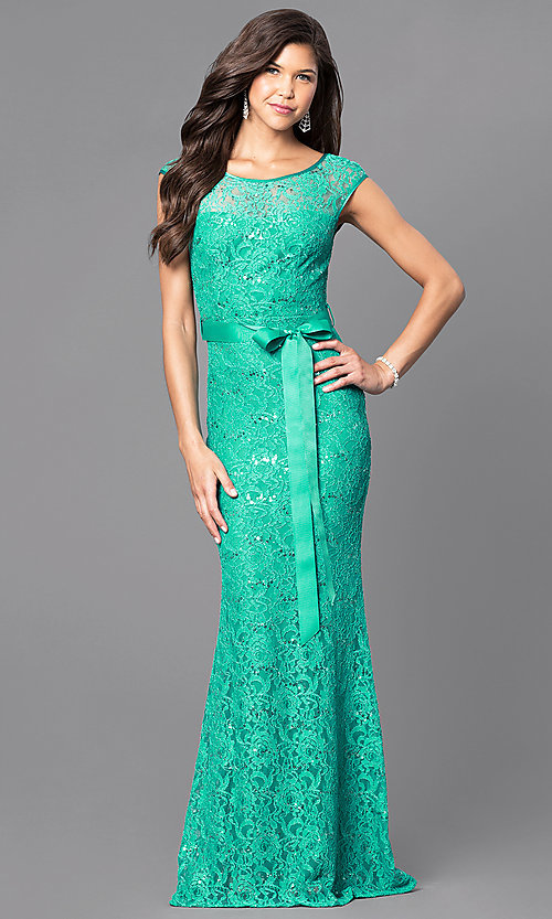 Image of sequined-lace formal long prom dress with sash. Style: MCR-1506 Detail Image 1