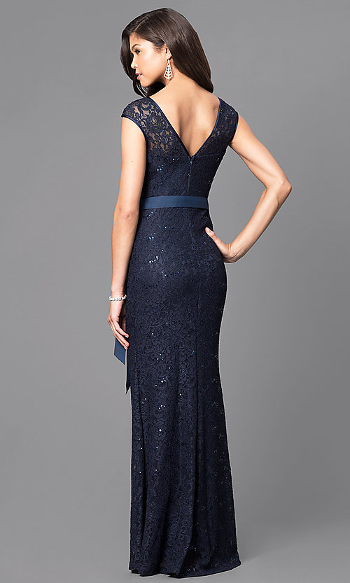 Image of sequined-lace formal long prom dress with sash. Style: MCR-1506 Back Image