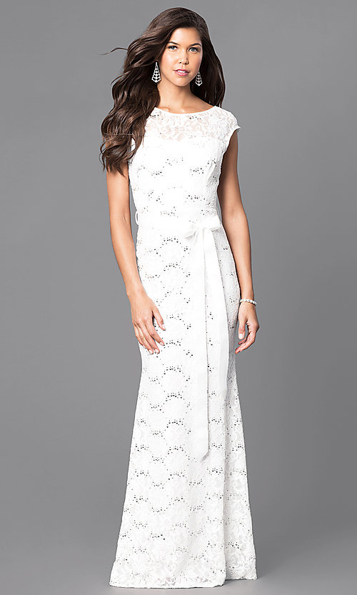Image of sequined-lace formal long prom dress with sash. Style: MCR-1506 Detail Image 3