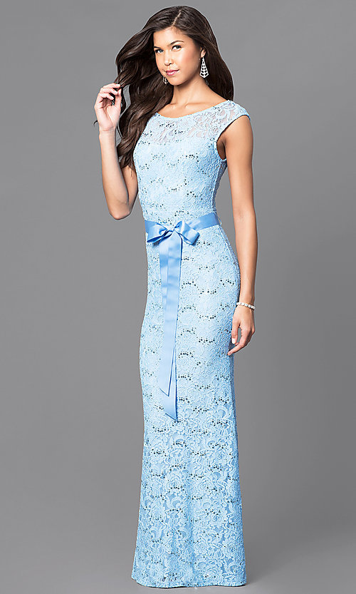 Image of sequined-lace formal long prom dress with sash. Style: MCR-1506 Detail Image 2