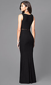 Image of mock two-piece long formal gown with sheer midriff. Style: MCR-1338 Back Image