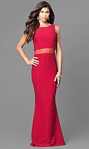 Image of mock two-piece long formal gown with sheer midriff. Style: MCR-1338 Front Image