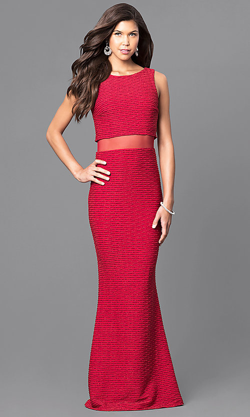 Image Of Mock Two Piece Long Formal Gown With Sheer Midriff Style Mcr
