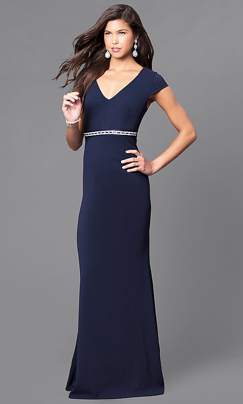 Embellished Waist Long Formal Dress With Cap Sleeves