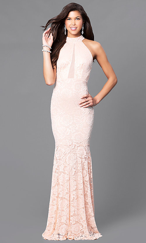 Long Blush Pink Lace Prom Dress With Sheer Panels
