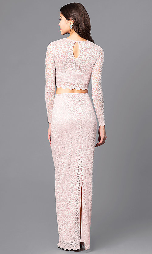 Image of two-piece lace blush pink long prom dress with sleeves. Style: MB-7115 Back Image