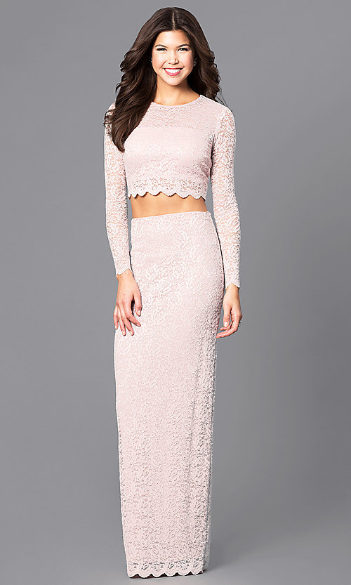 Image of two-piece lace blush pink long prom dress with sleeves. Style: MB-7115 Front Image