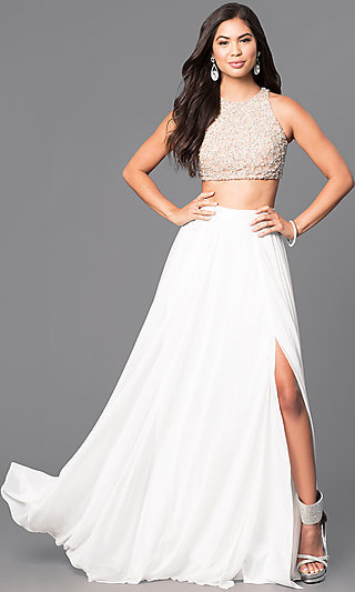 Long Two-Piece Formal Prom Dress in Ivory and Nude