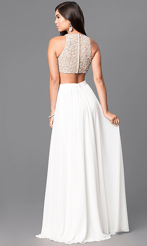 Image of long two-piece formal prom dress in ivory and nude. Style: TI-GL-1711P2734 Back Image