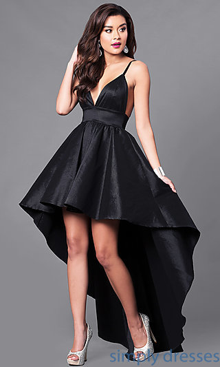 V Neck High Low Black Prom Dress With Open Back