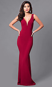 Image of low v-neck long formal prom dress. Style: SY-ID3712AP Front Image