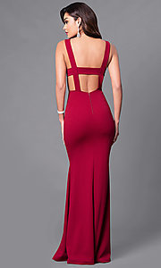 Image of low v-neck long formal prom dress. Style: SY-ID3712AP Back Image