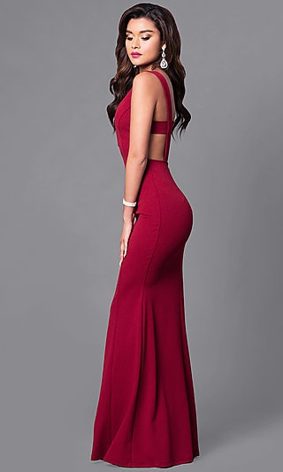 Open-Back Cheap Long Formal Prom Dress with V-Neck