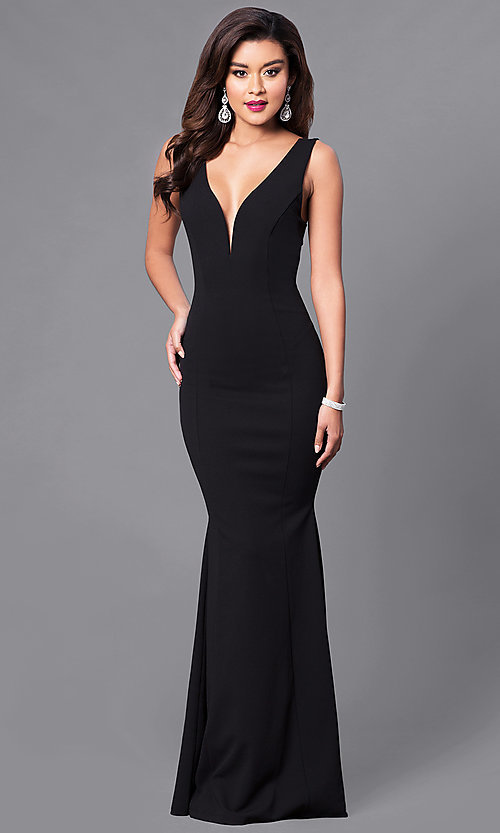 Image of low v-neck long formal prom dress. Style: SY-ID3712AP Detail Image 2