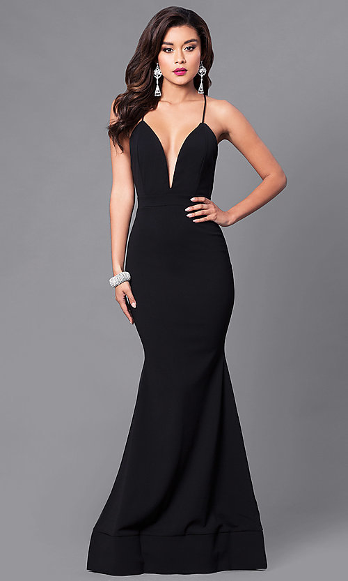 Image of long mermaid prom dress with low v-neck. Style: SY-ID3471VP Front Image