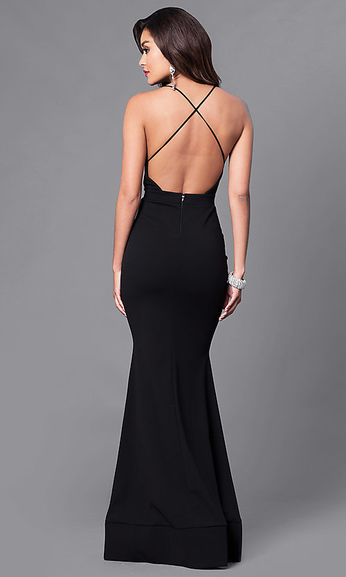 Image of long mermaid prom dress with low v-neck. Style: SY-ID3471VP Back Image
