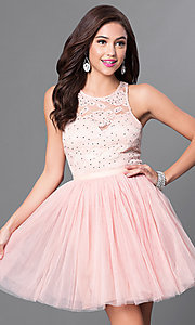 Image of short lace-bodice homecoming party dress.  Style: LP-23919 Front Image