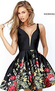 Image of Sherri Hill short black party dress with floral print. Style: SH-50776 Front Image