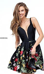 Image of Sherri Hill short black party dress with floral print. Style: SH-50776 Detail Image 1