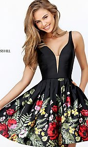 Image of Sherri Hill short black party dress with floral print. Style: SH-50776 Detail Image 2