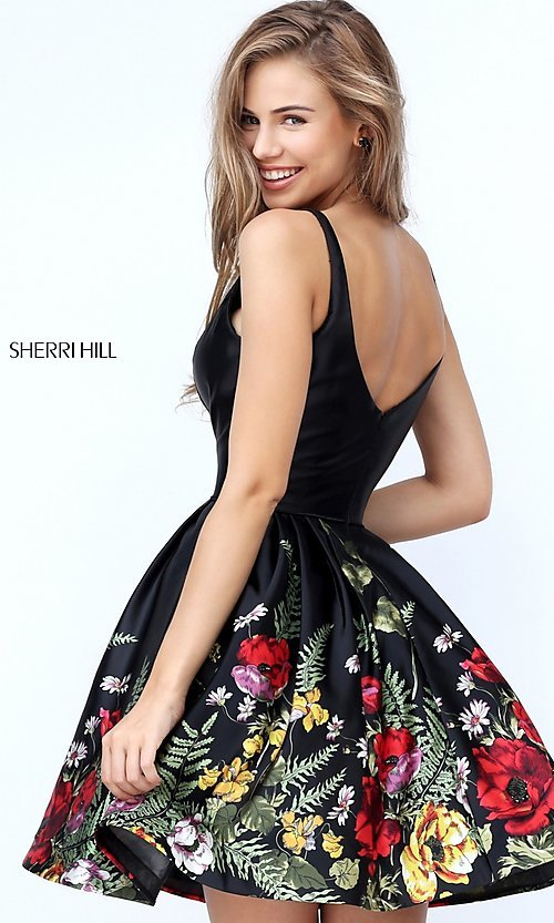 Image of Sherri Hill short black party dress with floral print. Style: SH-50776 Back Image