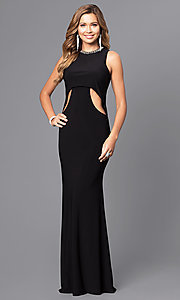 Image of jeweled-collar long formal dress with cut outs. Style: ZG-30813 Front Image