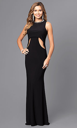 0960e6bf6bb Jeweled-Collar Long Formal Dress with Cut Outs