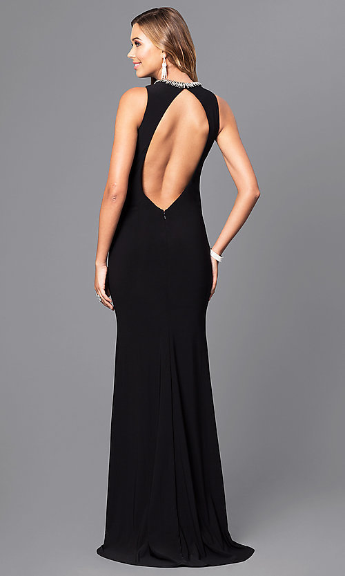 Image of jeweled-collar long formal dress with cut outs. Style: ZG-30813 Back Image