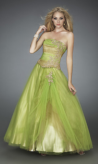 Strapless Two-Toned La Femme Ball Gown