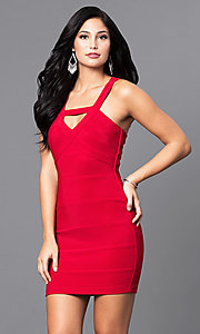 Image of red short holiday party mini dress with cut outs. Style: EM-EYS-1027-600 Front Image