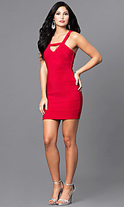 Image of red short holiday party mini dress with cut outs. Style: EM-EYS-1027-600 Detail Image 1