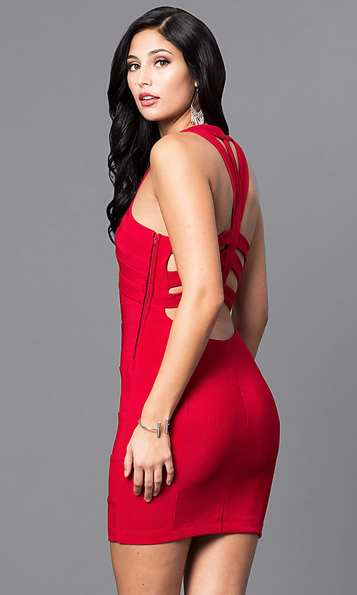 Image of red short holiday party mini dress with cut outs. Style: EM-EYS-1027-600 Back Image