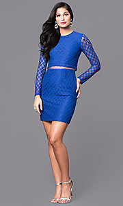 Image of long-sleeve homecoming dress with sheer midriff. Style: MT-8001 Detail Image 1