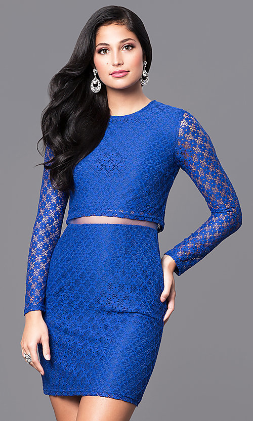 Image of long-sleeve homecoming dress with sheer midriff. Style: MT-8001 Front Image