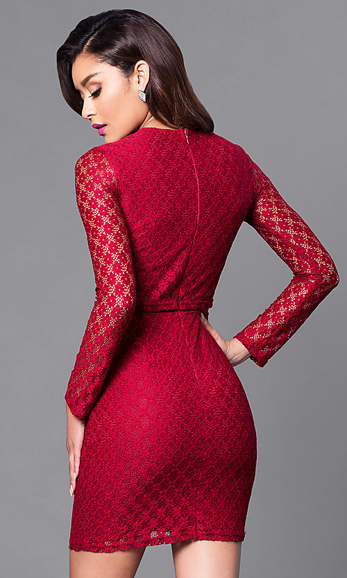 Image of long-sleeve homecoming dress with sheer midriff. Style: MT-8001 Back Image