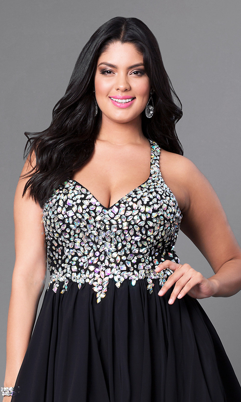 1c82253cc73 Tap to expand · Image of plus-size short party dress with beaded v-neck ...