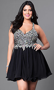 Image of plus-size short party dress with beaded v-neck bodice. Style: DQ-8997P Front Image