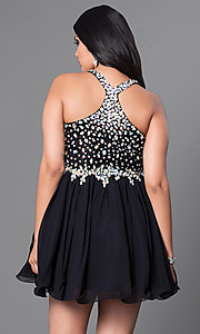 Image of plus-size short party dress with beaded v-neck bodice. Style: DQ-8997P Back Image