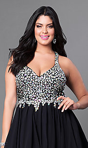 Image of plus-size short party dress with beaded v-neck bodice. Style: DQ-8997P Detail Image 1