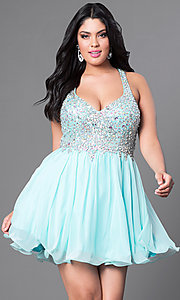 Image of plus-size short party dress with beaded v-neck bodice. Style: DQ-8997P Detail Image 5
