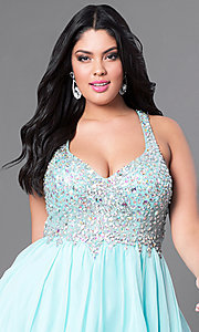 Image of plus-size short party dress with beaded v-neck bodice. Style: DQ-8997P Detail Image 6