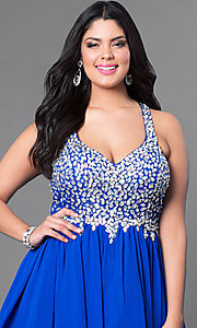 Image of plus-size short party dress with beaded v-neck bodice. Style: DQ-8997P Detail Image 8
