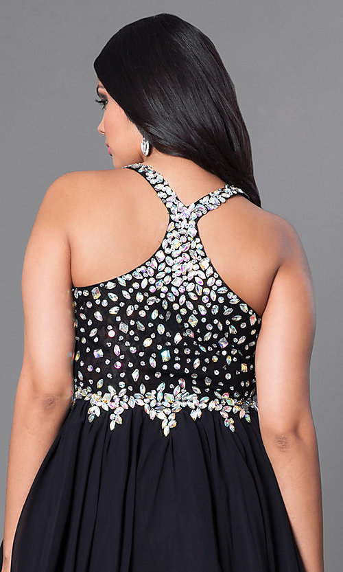 Image of plus-size short party dress with beaded v-neck bodice. Style: DQ-8997P Detail Image 2