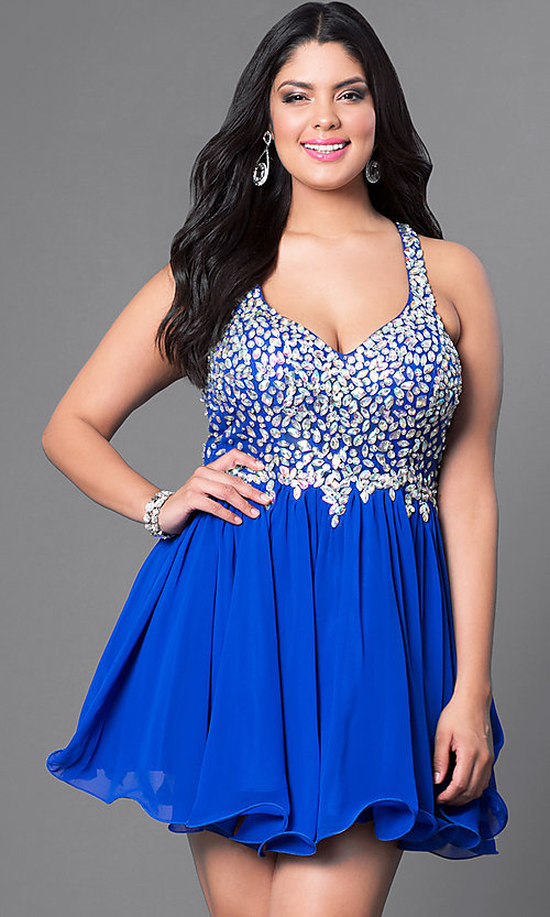 Image of plus-size short party dress with beaded v-neck bodice. Style: DQ-8997P Detail Image 7