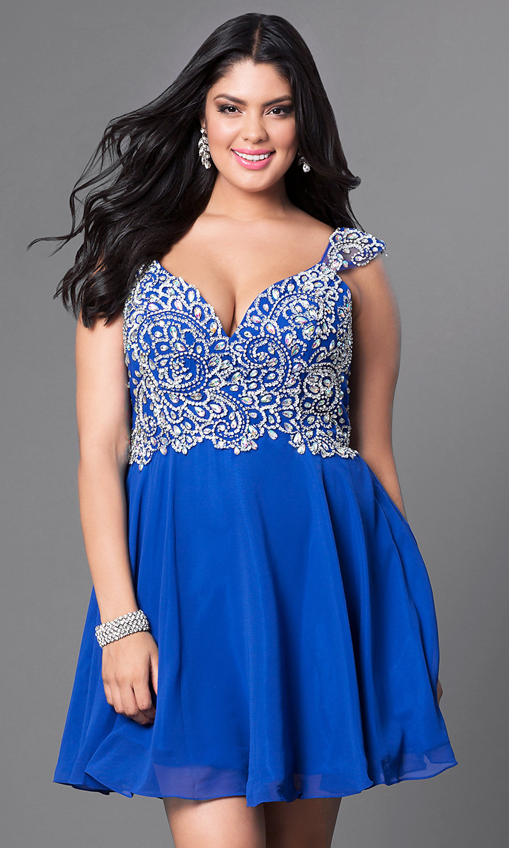 Plus-Size Short Prom Dress with Beaded Bodice