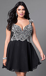Image of plus-size short prom dress with beaded bodice.  Style: DQ-9160P Front Image