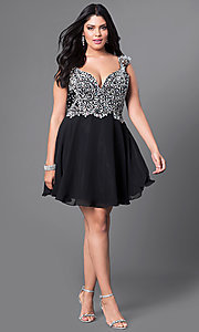 Image of plus-size short prom dress with beaded bodice.  Style: DQ-9160P Detail Image 1