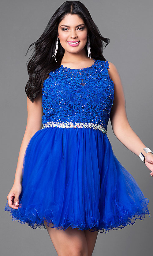 Short Semi-Formal Plus-Size Party Dress with Lace